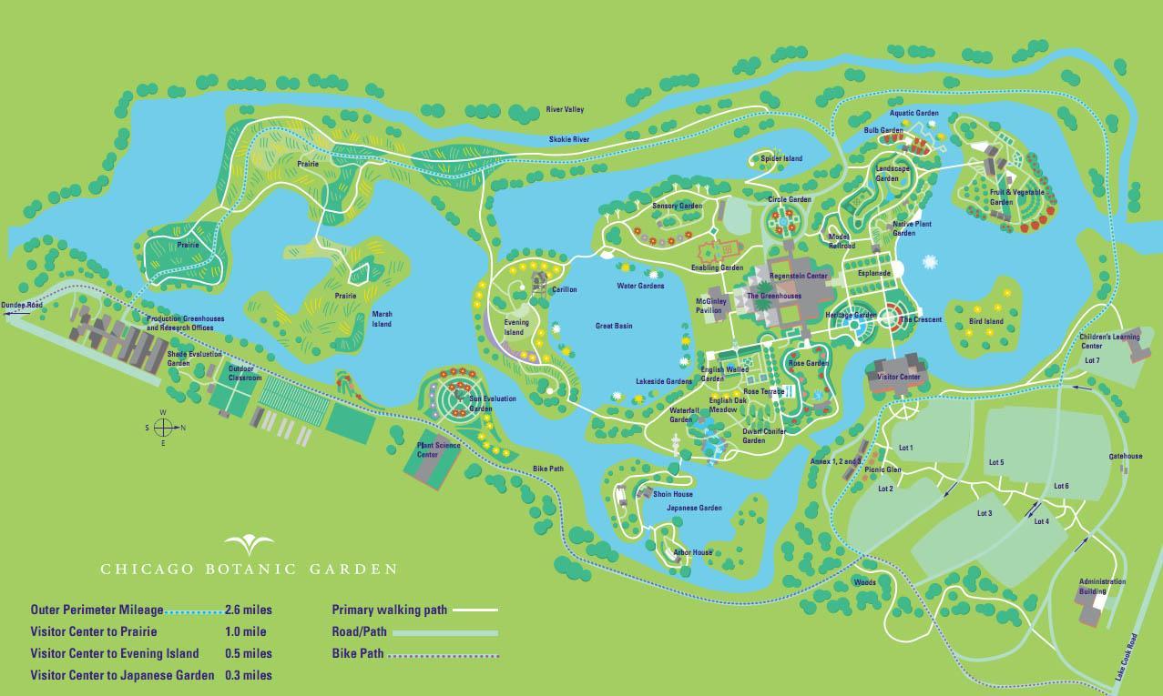 Botanic Garden Map Chicago Botanic Garden Map United States Of America