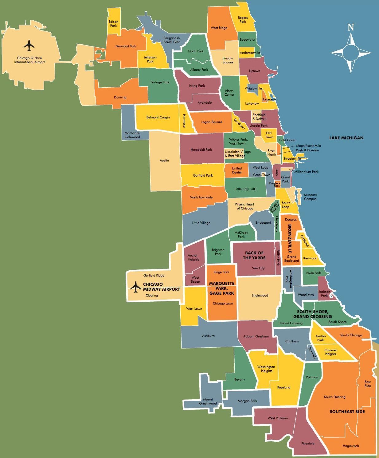 Chicago neighborhood map - Map of neighborhoods in Chicago