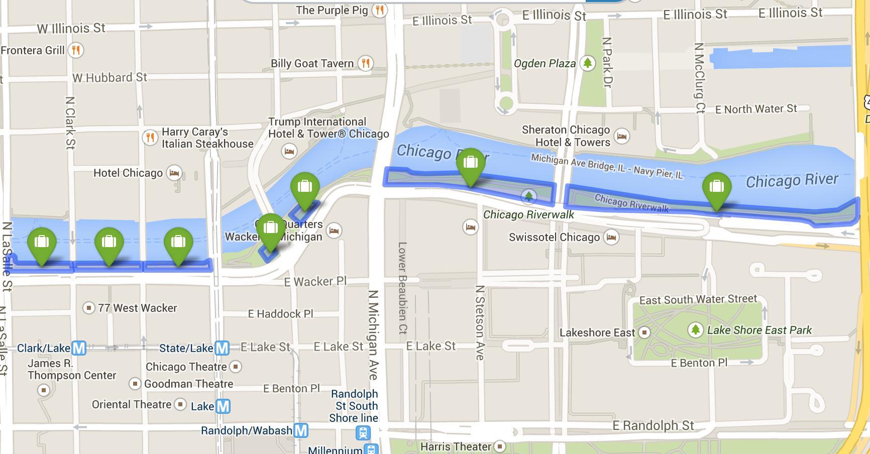 Chicago riverwalk map - Map of riverwalk Chicago (United ...