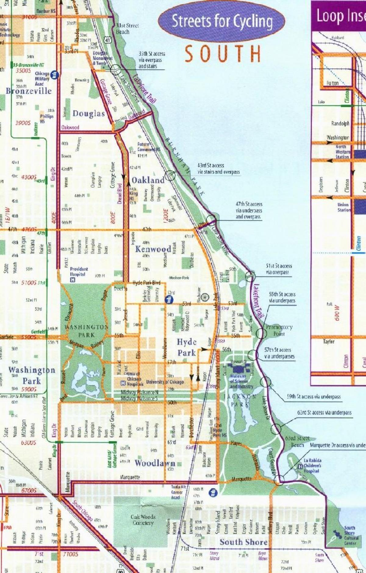 Chicago bike map Chicago bike lane map United States of America